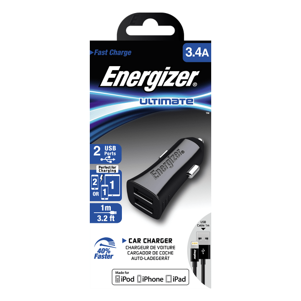 Energizer Car Charger 3.4A 2USB + Apple Lightning Cable