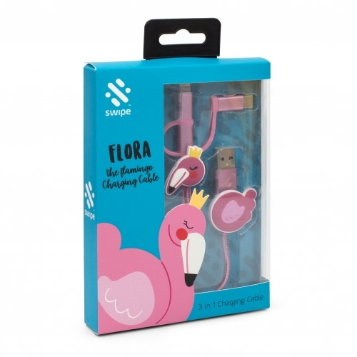 Swipe – Flamingo 3-In-1 USB Cable – Pink