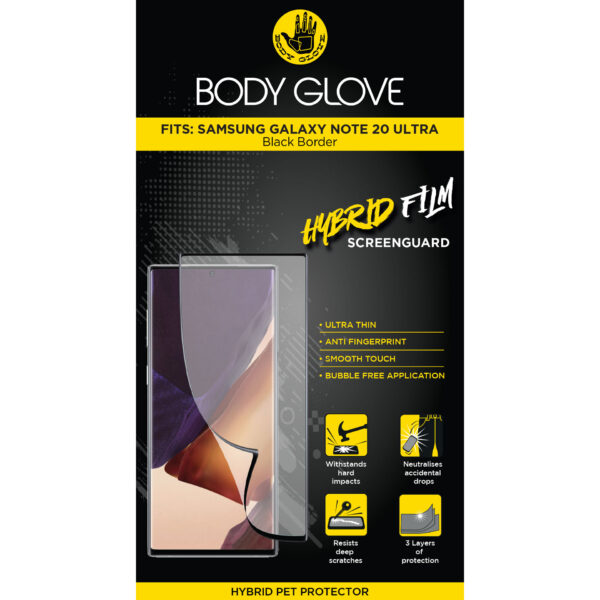 Body Glove Hybrid Tempered Glass Screen Protector – Samsung Galaxy Note 20+ (Clear)