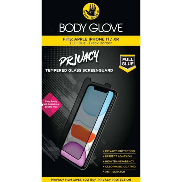 Body Glove Full Glue Tempered Glass Privacy Screen Protector for Apple iPhone XR – Black