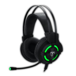 T-Dagger Andes Green Lighting|210cm Cable|USB|Omni-Directional Luminous Gooseneck Mic|40mm Bass Driver|Stereo Gaming Headset – Black/Green