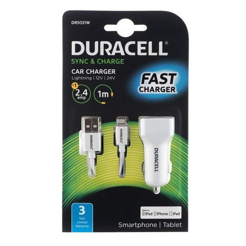 Duracell Car Charger with 1m Lightning Cable 2.4A (White)