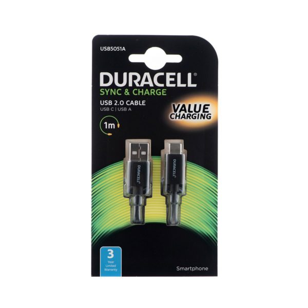 Duracell Type A/Type C USB 2.0 Cable 1m – Black