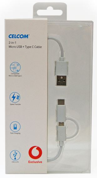 CEL VF-EX 2-IN-1 MICRO USB + TYPE C CABLE WHITE